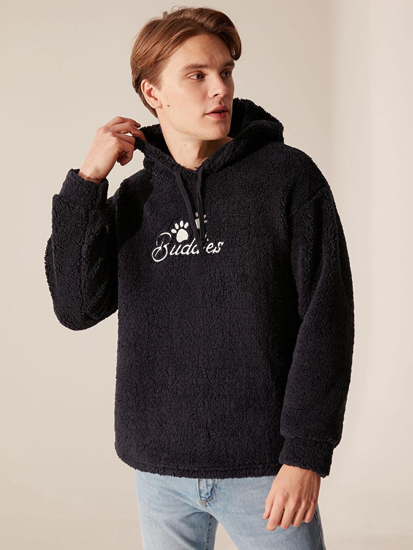 Erkek Kapüşonlu Yazı Baskılı Sweatshirt