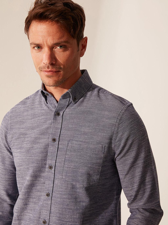 %100 Pamuk Normal Düz Uzun Kol Gömlek Düğmeli Regular Fit Kırçıllı Gömlek