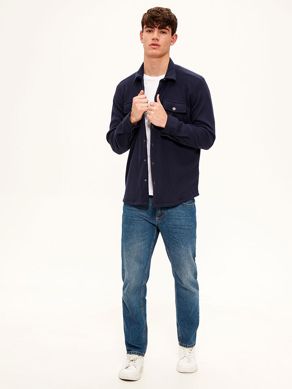 %100 Polyester Regular Fit Kalın Gömlek
