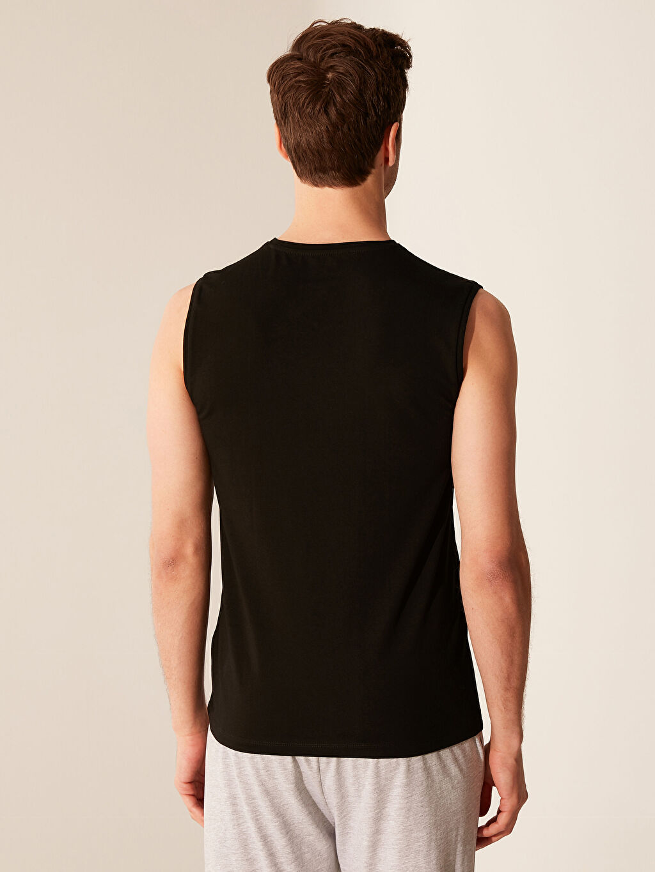 %96 Pamuk %4 Elastan Standart İç Giyim Üst V Yaka Kolsuz Atlet