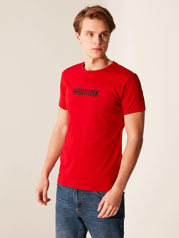 Kırmızı Bisiklet Yaka Baskılı Penye Tişört 0SR215Z8 LC Waikiki