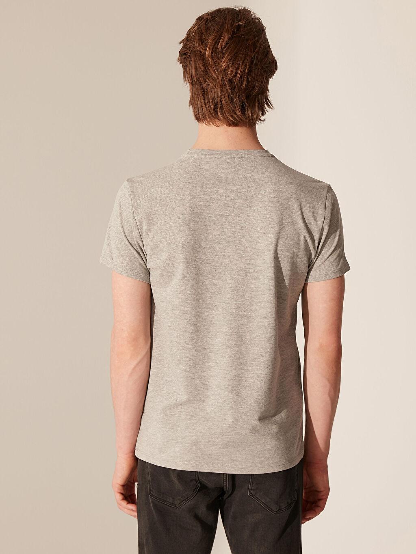 %48 Pamuk %52 Polyester Bisiklet Yaka Baskılı Penye Tişört