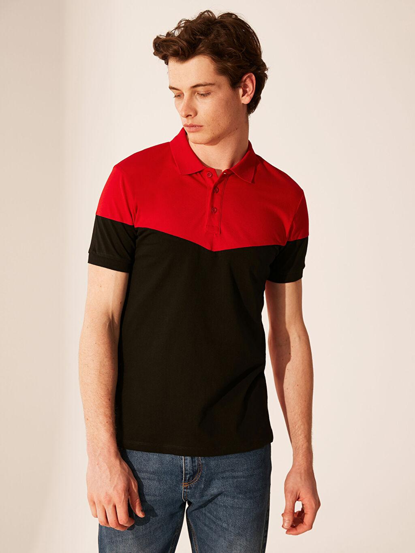 %100 Pamuk Çizgili Standart Kısa Kol Tişört Kapüşonlu Polo Yaka Renk Bloklu Tişört