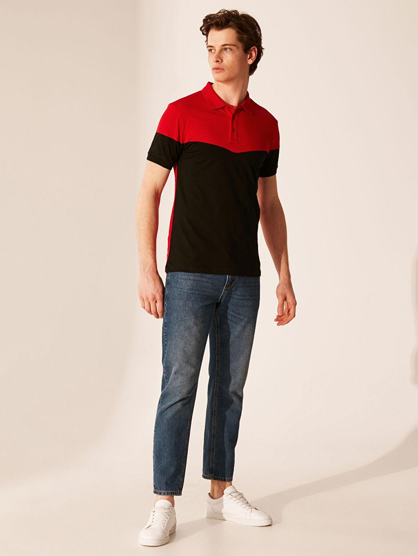 %100 Pamuk Polo Yaka Renk Bloklu Tişört