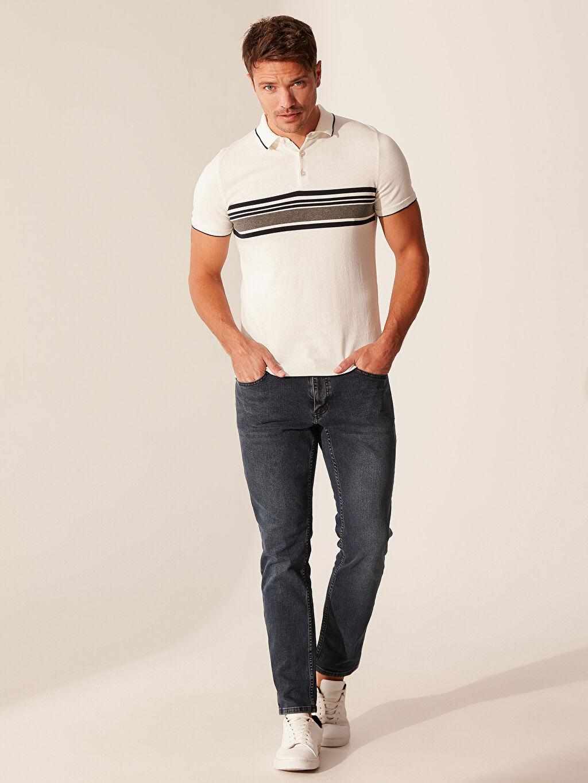 %100 Pamuk Polo Yaka Çizgili Tişört