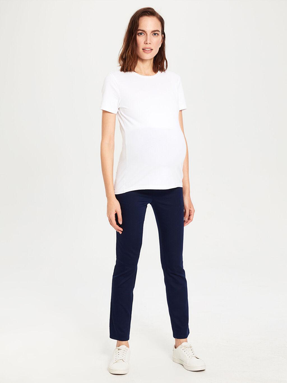 %67 Pamuk %29 Polyester %4 Elastan Pantolon Düz Paça Hamile Pantolon