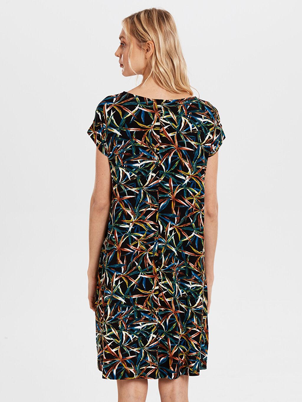 Kadın Desenli Salaş Viskon Elbise