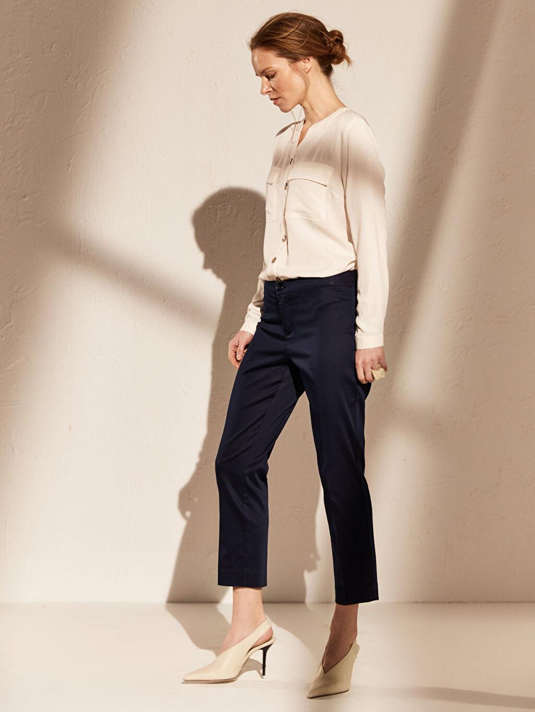 %66 Pamuk %31 Polyester %3 Elastan Normal Bel Esnek Dar Kısa Paça Kumaş Pantolon Bilek Boy Saten Pantolon