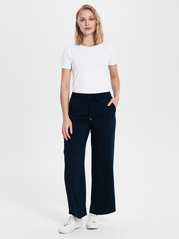 %100 Viskoz Normal Bel Bol Geniş Paça Pantolon Lastikli Bel Beli Lastikli Geniş Paça Viskon Pantolon