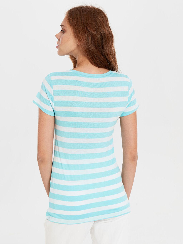 Kadın Çizgili V Yaka Tişört