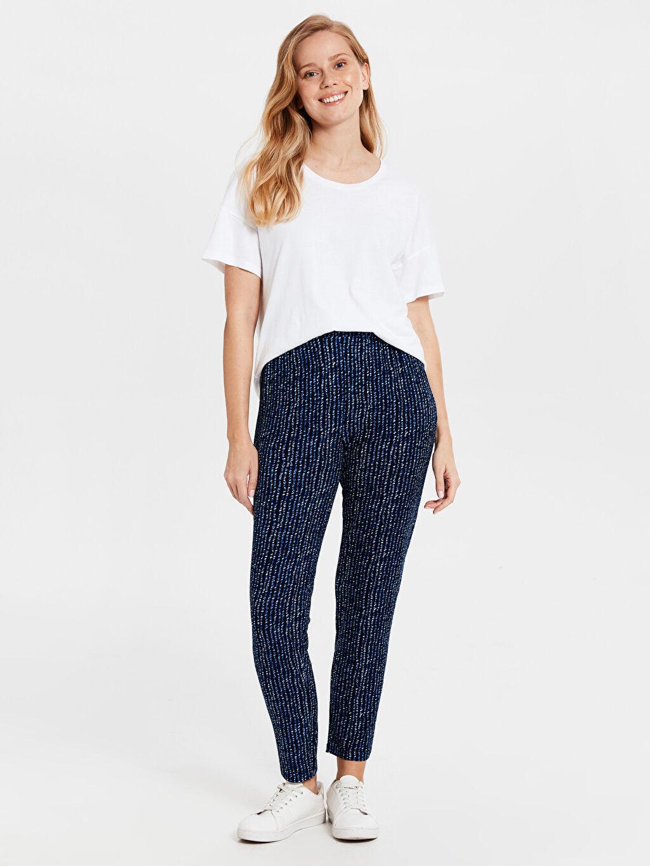 %97 Polyester %3 Elastan Normal Bel Havuç Lastikli Bel Pantolon Etek Desenli Beli Lastikli Havuç Pantolon