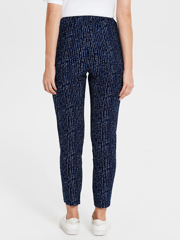 Kadın Desenli Beli Lastikli Havuç Pantolon