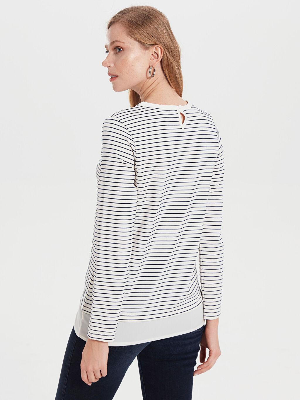 Kadın Çizgili Esnek Tişört