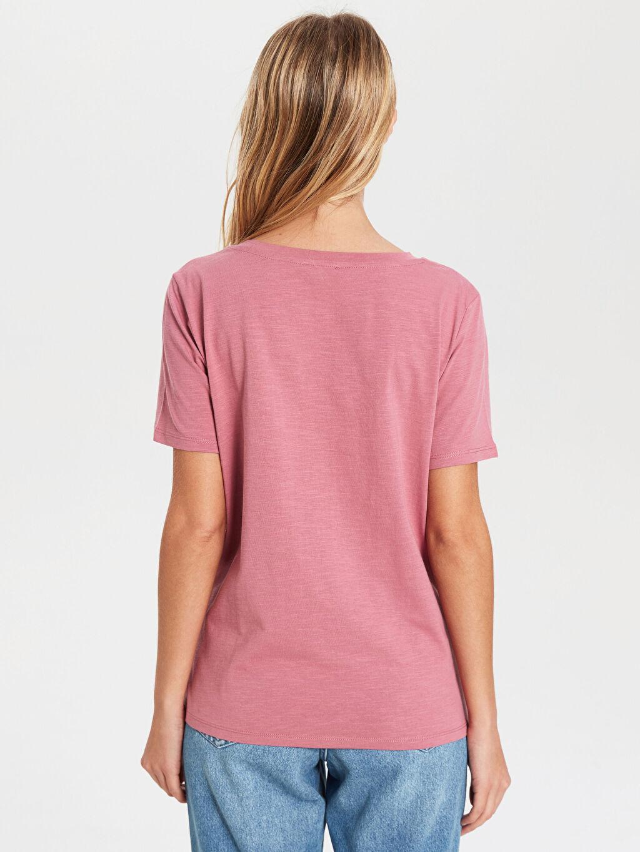 Kadın V Yaka Pamuklu Tişört