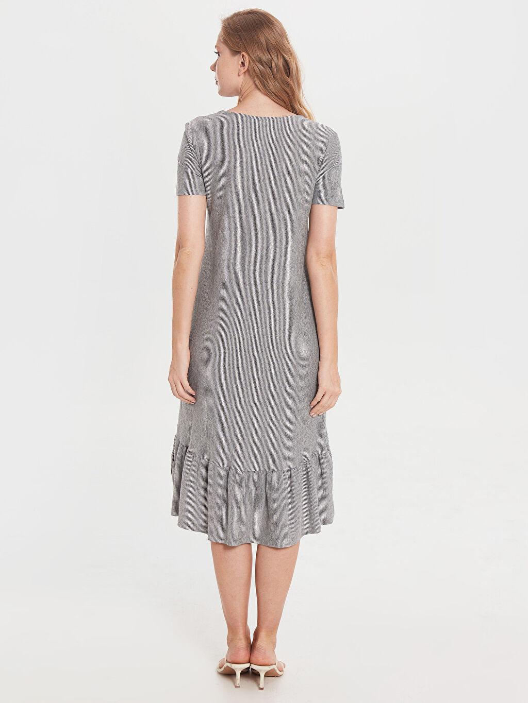 Kadın Fırfır Detaylı Çizgili Elbise
