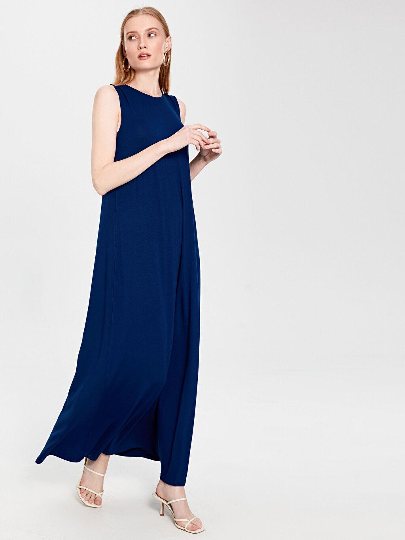 %97 Viskon %3 Elastan Uzun Düz Kolsuz Düz Uzun Viskon Elbise
