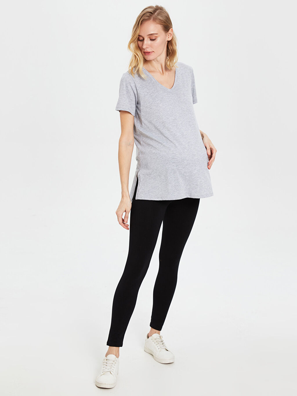 Kadın V Yaka Pamuklu Hamile Tişört