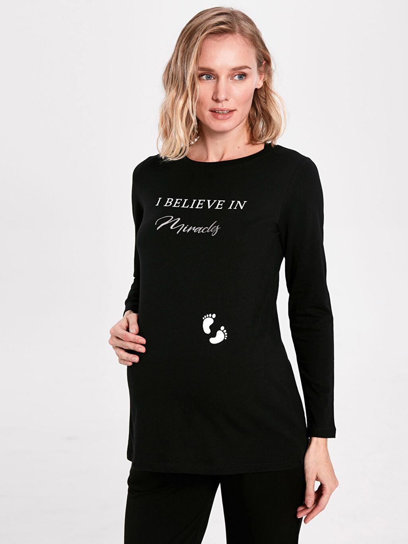 Kadın Hamile Slogan Baskılı Pamuklu Tişört