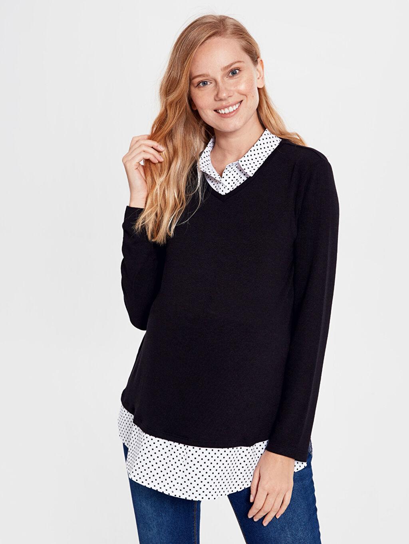 %59 Polyester %37 Viskoz %4 Elastan Tişört, Body ve Atlet Yaka Detaylı Esnek Hamile Tişört