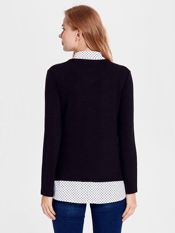 %59 Polyester %37 Viskoz %4 Elastan Yaka Detaylı Esnek Hamile Tişört