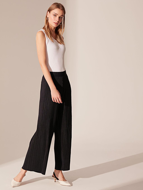 %90 Polyester %10 Elastan Normal Bel Geniş Paça Pantolon Esnek Bol Lastikli Bel Beli Lastikli Pileli Palazzo Pantolon