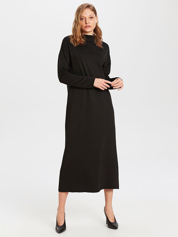 Siyah Uzun Düz Uzun Kollu Elbise 0S6705Z8 LC Waikiki