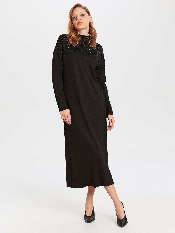 %26 Polyester %72 Viskoz %2 Elastan Uzun Düz Uzun Kol Uzun Düz Uzun Kollu Elbise