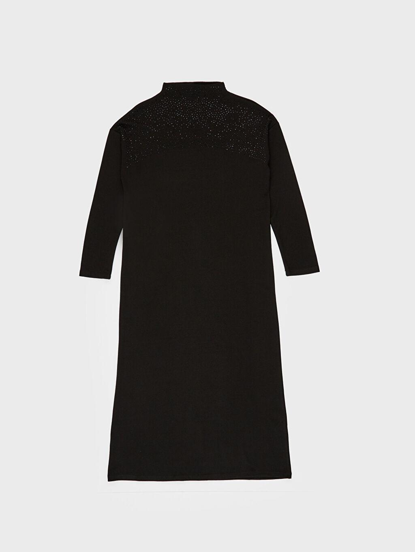 LC Waikiki Siyah Uzun Düz Uzun Kollu Elbise