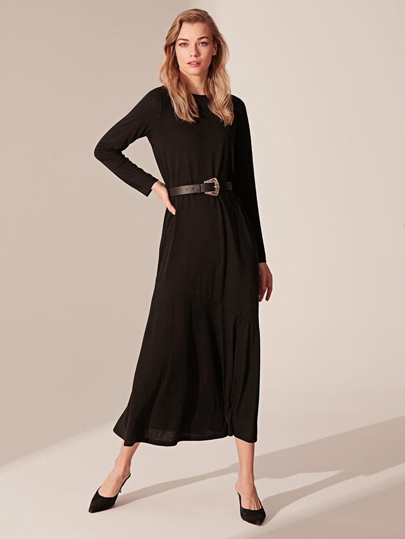 %67 Polyester %33 Viskon Uzun Düz Uzun Kol Düz Uzun Elbise