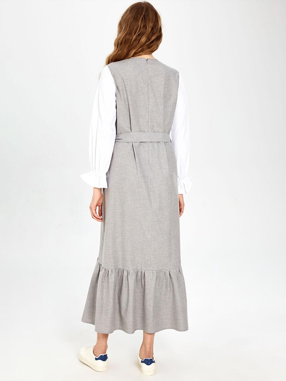 %100 Pamuk Fırfır Detaylı Kuşaklı Uzun Elbise