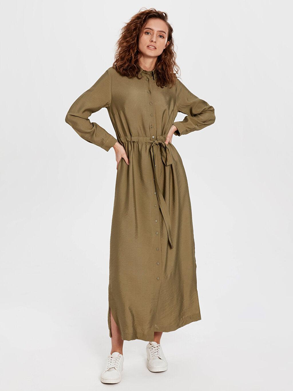 %10 Poliamid %90 Viskoz Uzun Düz Uzun Kol Dokulu Kumaştan Kuşaklı Elbise