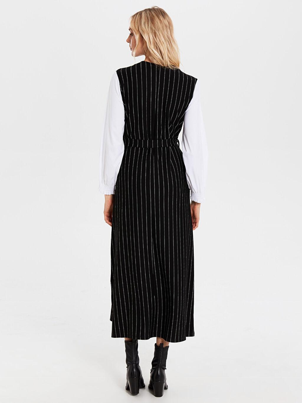 Kadın Uzun Çizgili Kolsuz Elbise