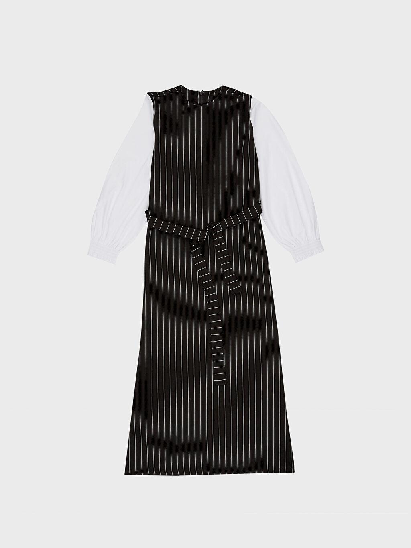 %25 Polyester %73 Viskoz %2 Elastan Uzun Çizgili Kolsuz Elbise