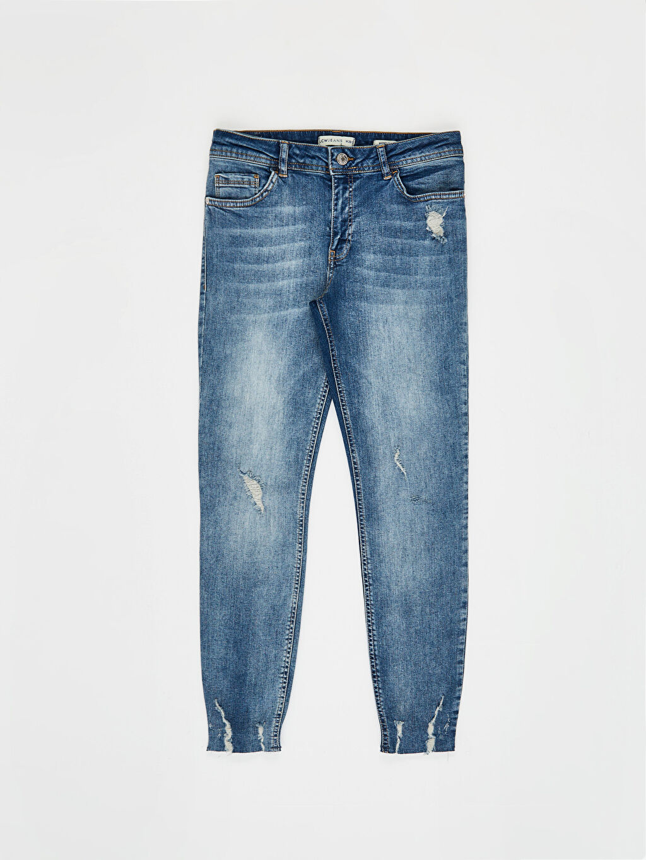 %98 Pamuk %2 Elastan Normal Bel Esnek Dar Jean