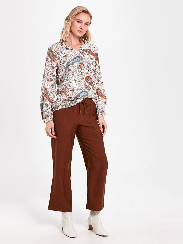 %13 Polyester %87 Viskoz Yüksek Bel Standart Geniş Paça Lastikli Bel Pantolon Beli Lastikli Geniş Paça Pantolon