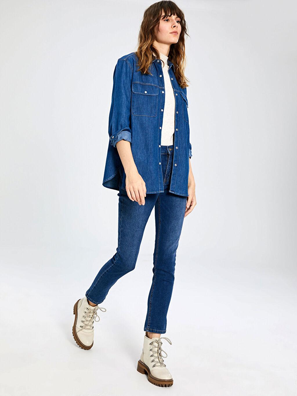 %100 Pamuk  Cep Detaylı Jean Gömlek