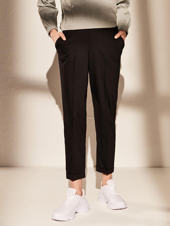 Kadın Bilek Boy Beli Lastikli Pantolon