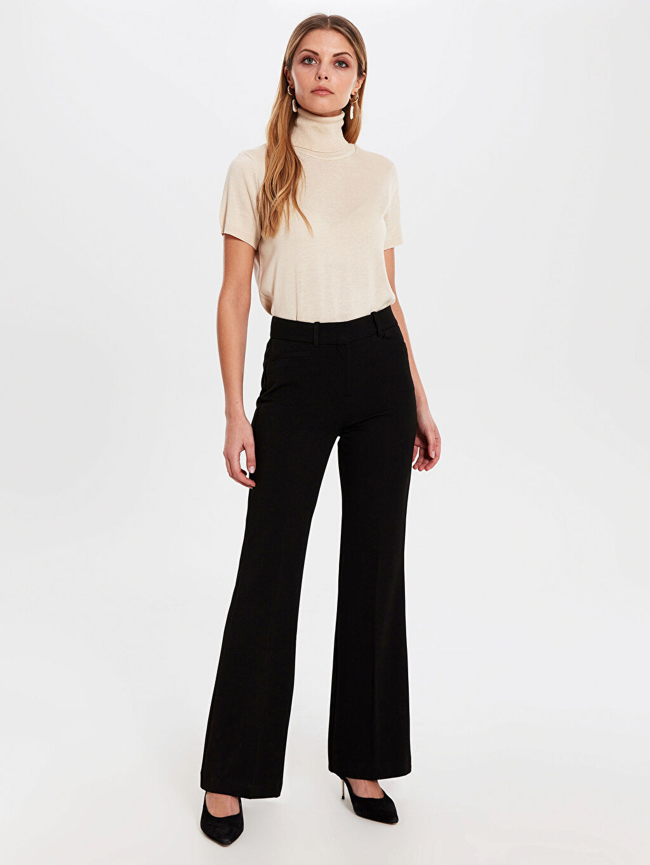 %62 Polyester %33 Viskon %5 Elastan Normal Bel Esnek Standart İspanyol Paça Kumaş Pantolon Normal Bel Esnek İspanyol Paça Pantolon