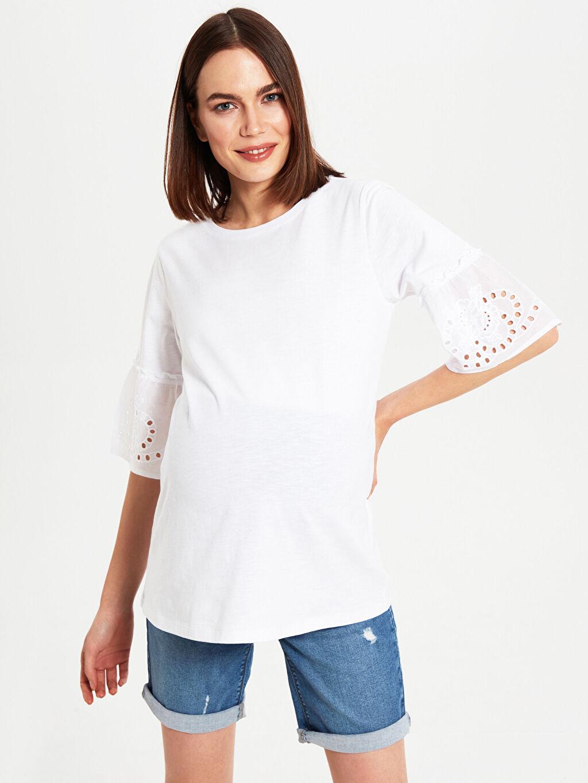 %100 Pamuk Tişört, Body ve Atlet Kol Ucu Fisto Detaylı Pamuklu Hamile Tişört