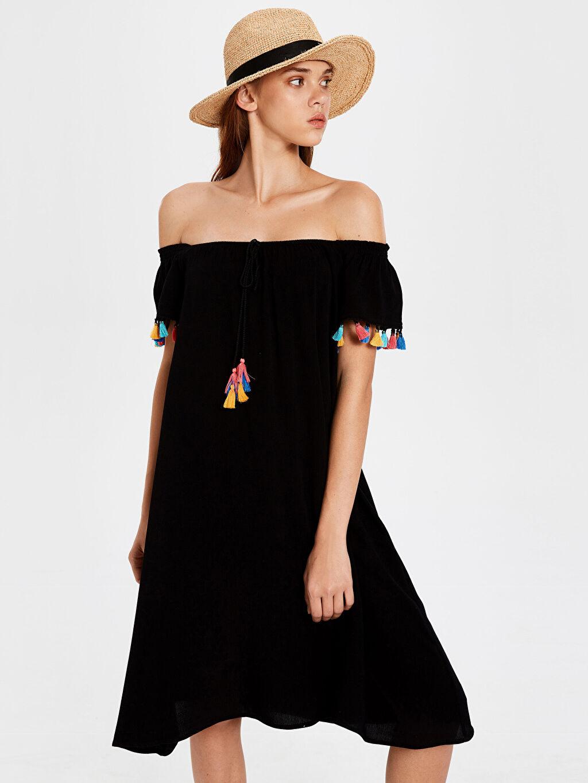 Siyah Püskül Detaylı Straplez Viskon Elbise 0S9096Z8 LC Waikiki