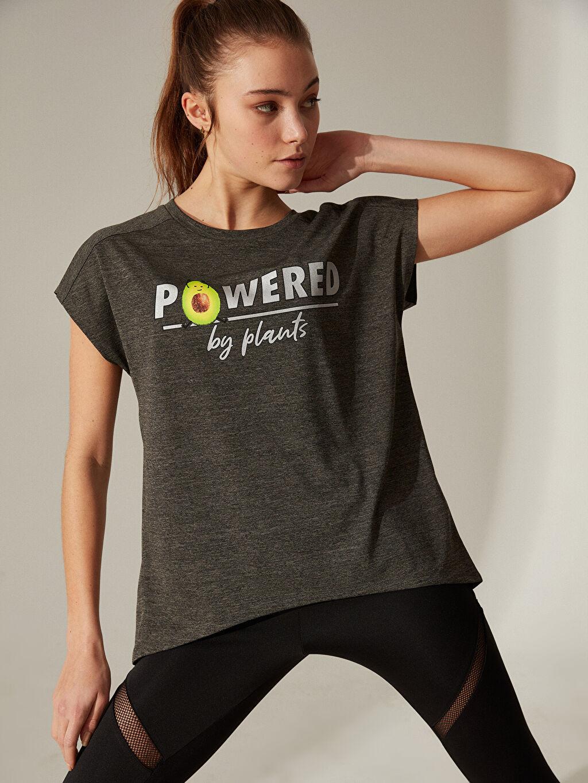 %100 Polyester Baskılı Standart Kısa Kol Tişört Bisiklet Yaka Slogan Baskılı Spor Tişört