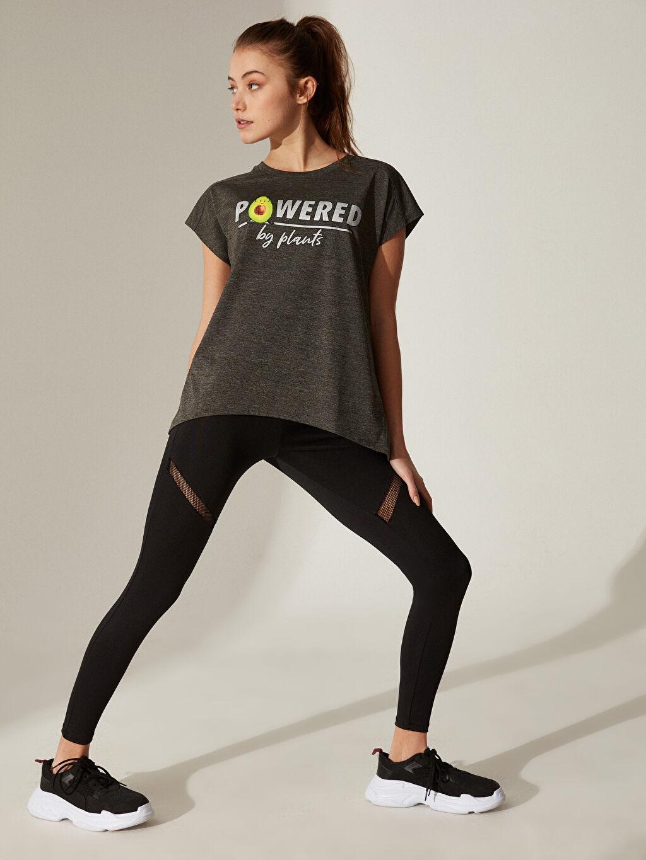 Kadın Slogan Baskılı Spor Tişört