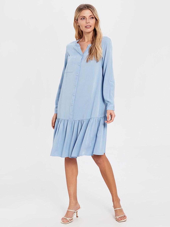 Kadın Fır Fır Detaylı Viskon Elbise