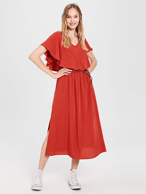 Kadın Kemerli Viskon Elbise