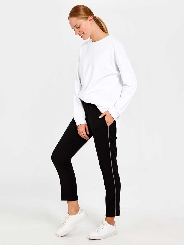 %14 Polyester %86 Viskon Standart Normal Bel Kumaş Pantolon Şerit Detaylı Harem Pantolon