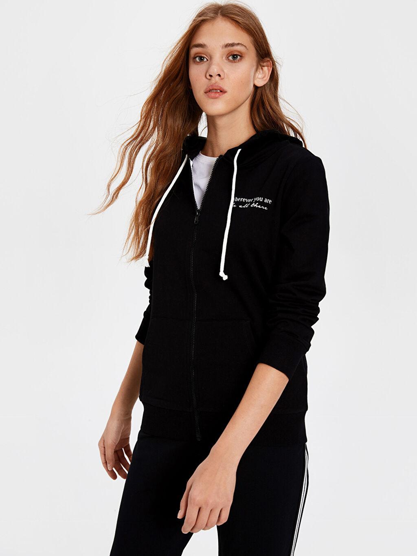 Siyah Kapüşonlu Fermuarlı Sweatshirt 0SG515Z8 LC Waikiki