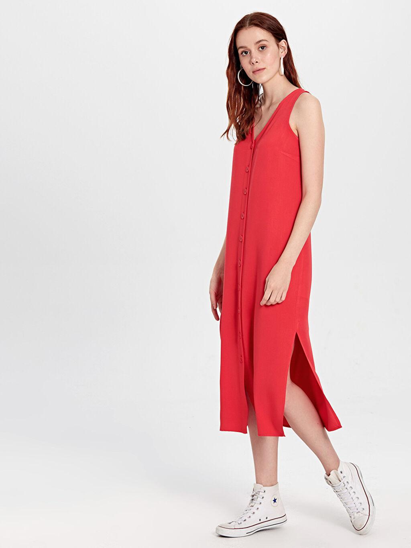 Kırmızı V Yaka Viskon Kolsuz Elbise 0SG643Z8 LC Waikiki