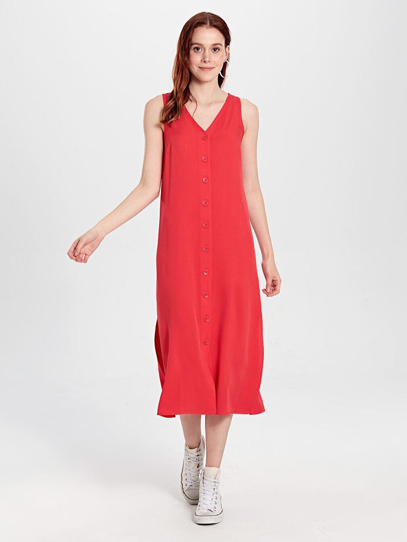 %100 Viskoz Diz Altı Düz Kolsuz V Yaka Viskon Kolsuz Elbise