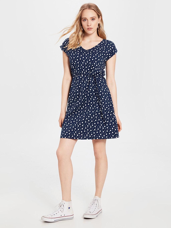 %100 Pamuk Diz Üstü Desenli Kısa Kol Puantiyeli Mini Elbise