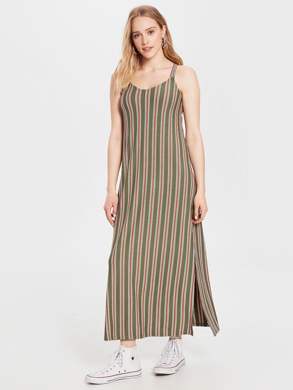 Yeşil Çizgili Viskon Elbise 0SG649Z8 LC Waikiki